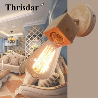 Thrisdar E27 Modern Simple Wooden LED Wall Light Swing Head LED Wall Sconce Light Nordic Bedroom