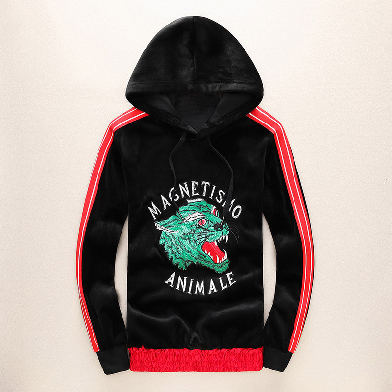 Hooded Sweatshirts Wolf Fleece Animale Street Cotton Drake -J10 Embroidery Velvet Magnetismo