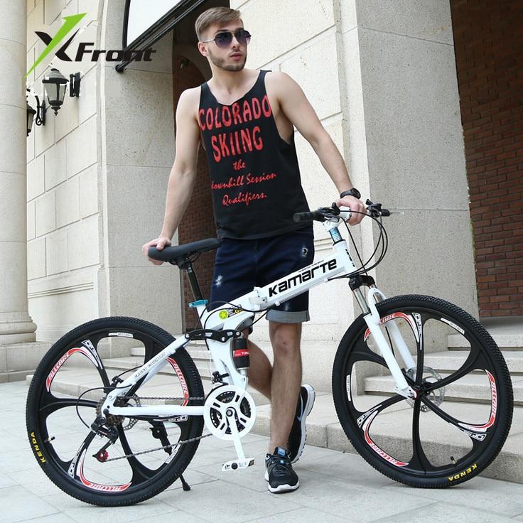 Original X-Front Brand 21 24 Speed 26'' Carbon Steel Damping Mountain Downhill Folding Bike Mtb Bicicleta Bicycle