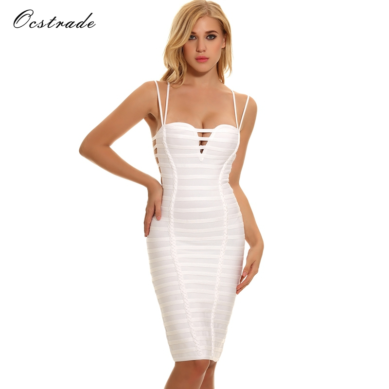 Ocstrade Summer White Bodycon Dresses for Women Bandage Dresses 2018 New Arrival Vestidos Sexy Bandage Dress Rayon High Quality