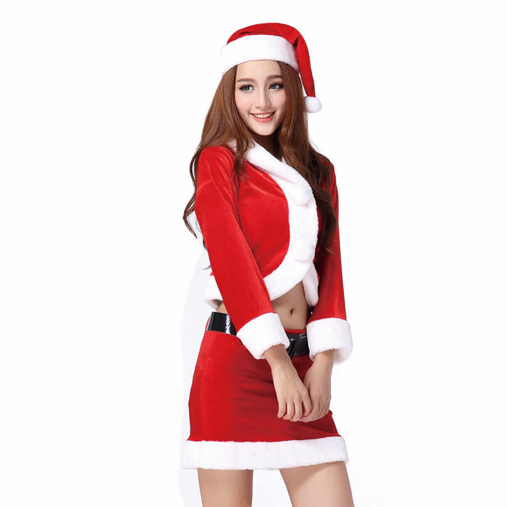 New2017 New Style Ladies Santa Costume Women Christmas Party Fancy Two  Parts Dress Cosplay Suit sexy 3729dec5364f