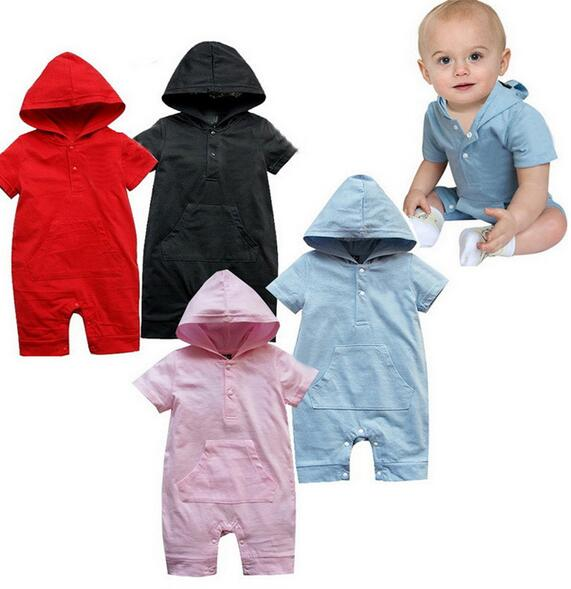2016 New!Brand Kids Spring/Summer Short sleeve Newborn Kids Hooded romper Unisex Baby jumpsuit Boys Clothes Onepieces