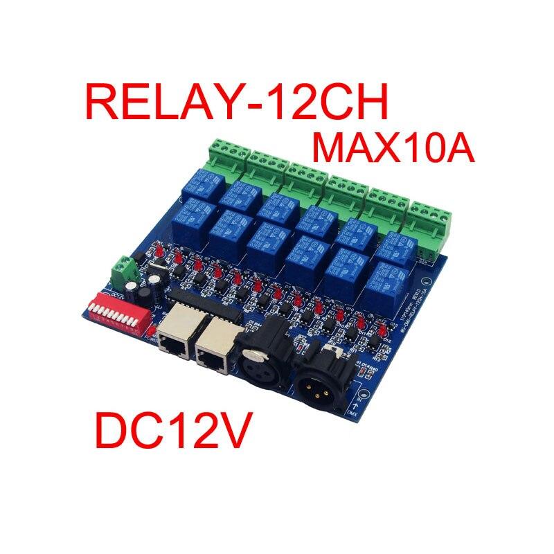 12CH Reléový spínač dmx512 Řadič RJ45 XLR, reléový výstup, DMX512 reléové relé, 12cestný reléový spínač (max. 10A) pro LED