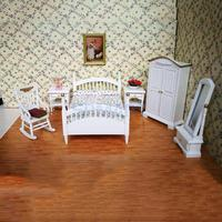 Contemporary style 1/12 Dollhouse Miniature Furniture Bedroom Floral Bed Wardrobe Chair Bedside Table Set Kids Pretend Play Toy