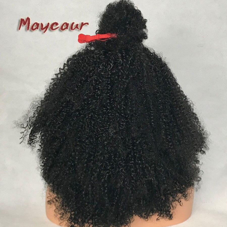 Afro Curly Wig Heavy Density Syntetisk Spets Fram Paryk För Svarta - Syntetiskt hår - Foto 6