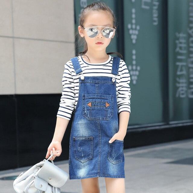 ea87853a9 2017 nuevas faldas para niñas primavera verano chica Correa Denim Faldas  Casual moda Mini vestidos para