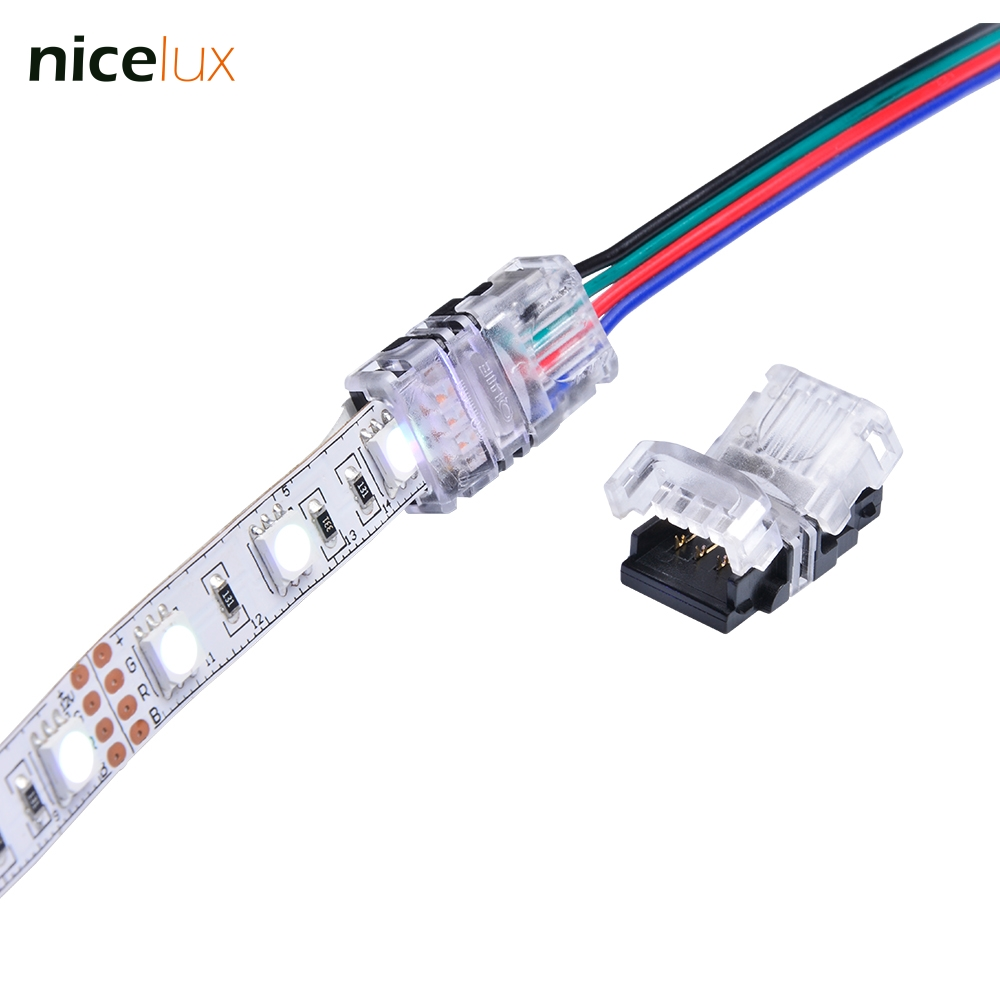5PCS RGB LED Strip Connector 4 Pin 5050 10mm Colorful LED RGB Tape Light Connector Non-Waterproof IP20 Strip to RGB Wire Use 10pcs 5 pin led strip wire connector for 12mm 5050 rgbw rgby ip20 non waterproof led strip to wire connection terminals