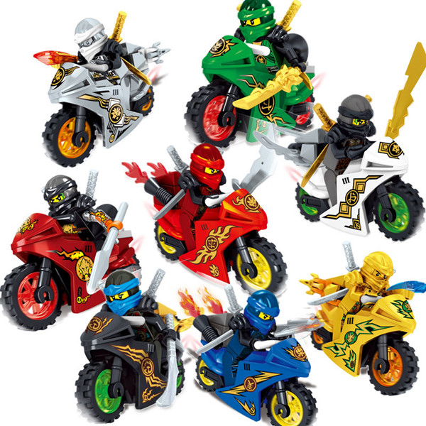 80Pcs Cole Kai Jay Lloyd Nya zane Golden with Motorcycle Compatible Building Block Toy For Children