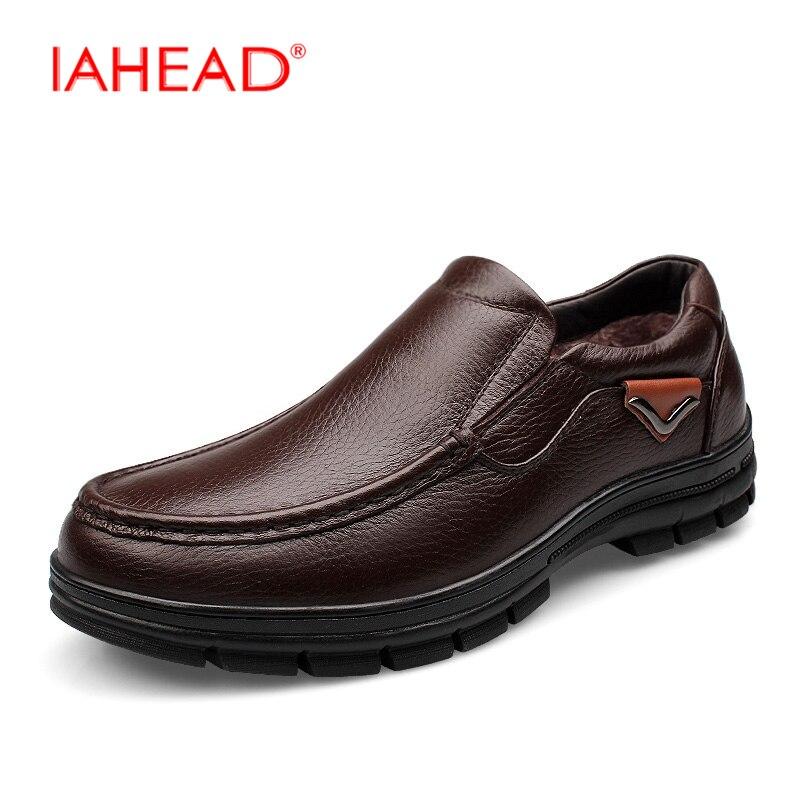 Мужчины снегоступы мужчины Натуральная кожа свободного покроя обувь внутри Пух согреться скольжения на зимние ботинки туфли-botas де inverno MQ584