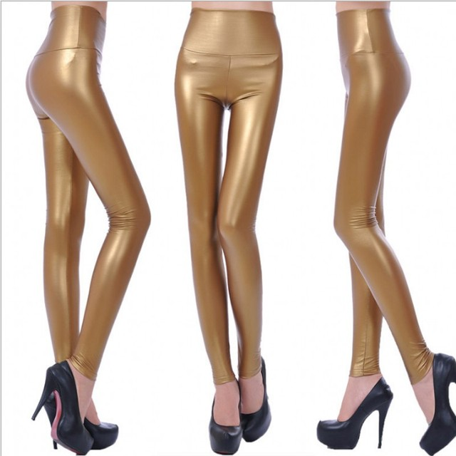 Womens PU Leather Pants High Elastic Waist Leggings Not Crack Slim Leather Leggings Fleece Trousers Women Fashion F80 43
