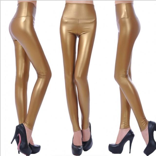 Womens PU Leather Pants High Elastic Waist Leggings Not Crack Slim Leather Leggings Fleece Trousers Women Fashion F80