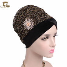 New Women Soft Mesh Net Velvet Nigerian Turban With Pearled Metal Brooch Extra Long Head Wraps Luxury Hijab HeadScarf Turbante