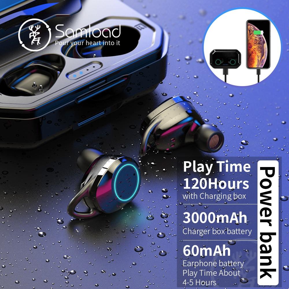Samload auriculares inalámbricos Bluetooth 5,0 3D profundo bajo IPX7 al aire libre inalámbrico auriculares con 3000 mAh Banco de la energía para IOS Android - 2