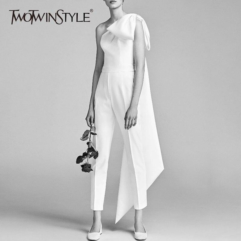 TWOTWINSTYLE Arc Combinaisons Femme Encolure Patchwork Rubans Taille Haute Blanc Long Pantalon D'été De Mode Elegnat Vêtements