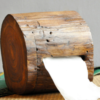 Creative Retro Crafts Wood Tissue Box Natural Handmade Wall Mounted Bathroom Paper Towel Tube