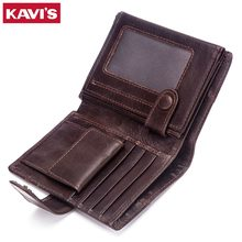 KAVIS Genuine Leather Wallet Men Coin Purse Small Male Clutch Walet Portomonee PORTFOLIO Hasp Mens Money Bag Card Holder Slim(China)