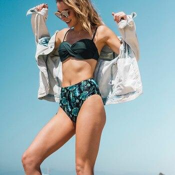 Bikini estampado cintura alta top unicolor