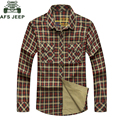 Hot Sale AFS JEEP Plaid Shirts Men Shirt Cotton Military Size 3XL Camisa Masculina Chemise Homme Brand Clothing Mens Coat #8229