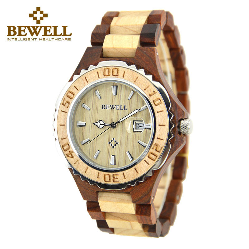 BEWELL Men's Natural Wood Watch Brand To Display Date Fashion Casual Design Watch Model Sandalwood Men's Watch Gift Box 100BG