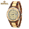 BEWELL Montre Homme Quartz Wood Watch Men Analog Display Date Sandalwood Men  Watch for Christmas Gifts With paper box 100BG