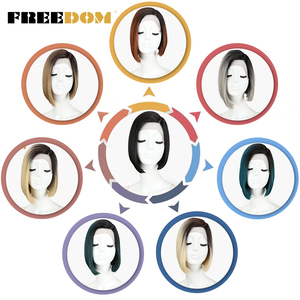 Image 3 - FREEDOM Colorful Short Straight Wigs For Black Women Ombre Dark Roots Brown Synthetic Lace Front Wig Natural Hair wigs Glueless