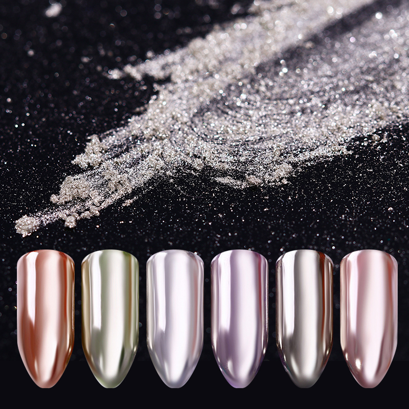 0 5g 1g Box Mirror Nail Glitter Powder Rose Gold Silver Champagne Colors Shimmer Pigment Dust Pearl Powder Nail Art Decoration in Nail Glitter from Beauty Health