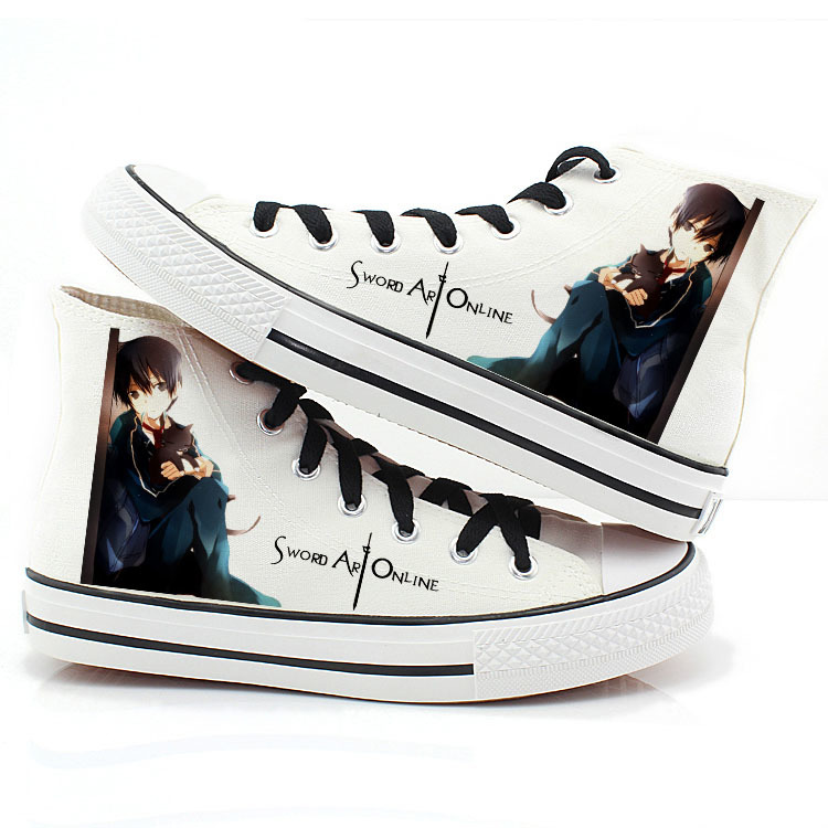 Sword Art Online Fashion Canvas Shoes Kirito Asuna High-Top Casual canvas shoes