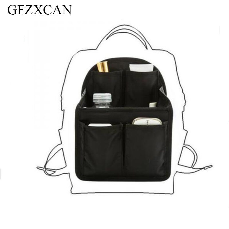 Womens fashion backpack liner collapsible on both sides built-in storage cosmetics Obag luggage accessories