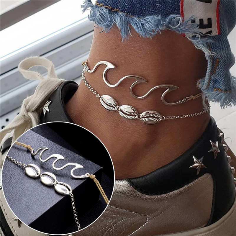 Anklets Dutiful Imixlot 2pcs Wave Rope Chain Shell Alloy Silver Color Anklets Thin Bracelet Summer Beach Ankle Jewelry