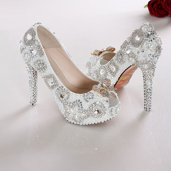 Gorgeous White High Heel Open Toe Pearl Wedding Dress Shoes Lady Fashion Dress Shoes Party Club Shoes