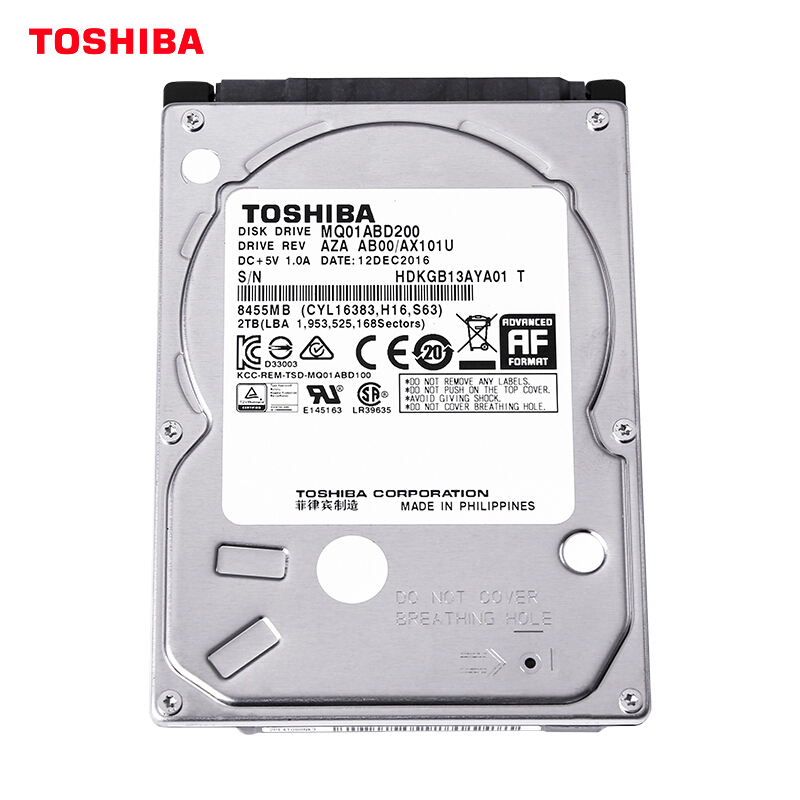 "TOSHIBA 2TB 2.5"" Hard Drive Disk Internal HD HDD 5400RPM 128MB Cache 9.5mm SATA3 for Notebook Laptop MQ04ABD200"