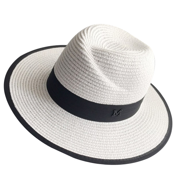 d1ea54626bb 2017 New Fashion Summer Black White Large Brim Straw Fedora Hat For Women  Mens-in Fedoras from Apparel Accessories on Aliexpress.com