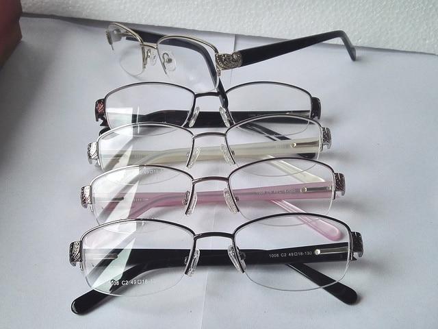d9ed8c0e448a82 1008 tamanho Pequeno Mulheres Meia armação de Metal armação de óculos de  prescrição de óculos de