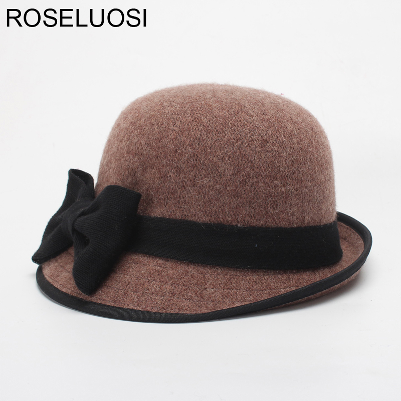 a552d2ccad090 ROSELUOSI Autumn Winter Women Fedora Hats Ladies Elegant Wool Knitted Panama  Hat Bow Knot Blower Cap Chapeau Femme-in Fedoras from Apparel Accessories  on ...