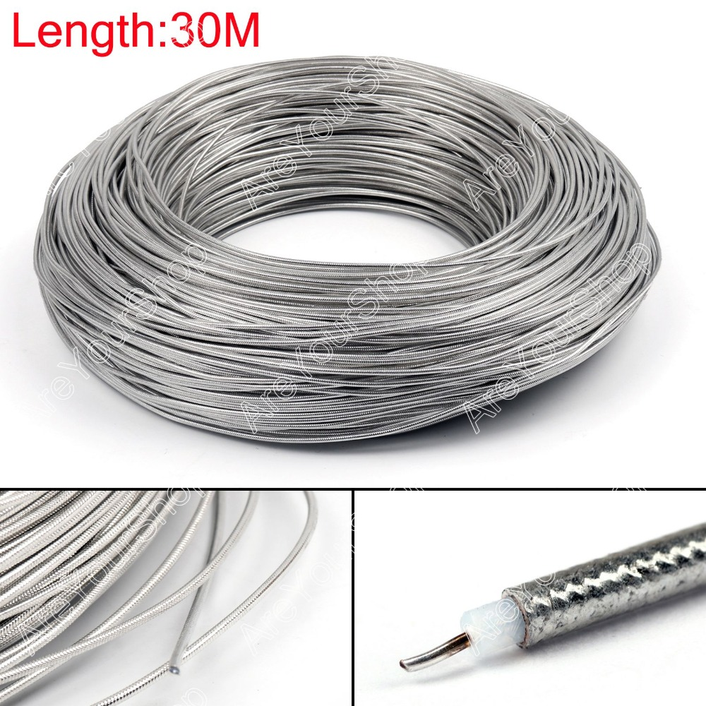 Areyourshop Sale 3000CM RG405 RF Coaxial Cable Connector Flexible RG-405 Coax Pigtail 98ft Plug Jac