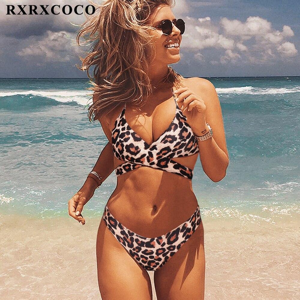 86a7230d870dc RXRXCOCO Горячая сексуальная крестообразная бразильская бикини 2019 купальник  женский пляжный купальный костюм пуш-ап бикини набор Холтер Топ б.