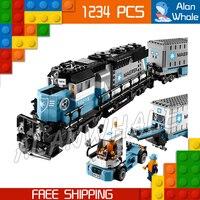 1234 шт. создатель Maersk поезда грузовой Грузовой локомотив 21006 Классический DIY фигурка строительные блоки игрушка совместима с LegoING