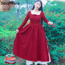 SexeMara New Vintage Double Layers Corduroy Christmas Red Long Sleeve Alice Wonderland Lolita Swing Dress Fancy Dress