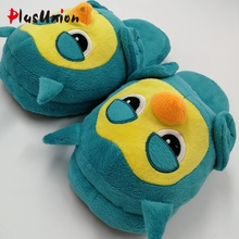 flat indoor winter flock cartoon slippers fluffy house home with fur flip flops women platform bow plush mules feathers s169
