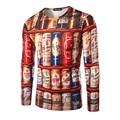 Новый Приход Лета мужская Повседневная Майка Личность Пиво Шкафы Печать Pattern Мода Дизайн Мужчины С Длинным Рукавом Рубашки