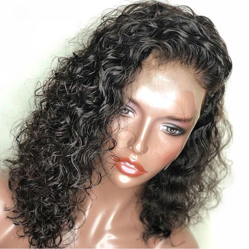 Короткие парики человеческих волос для Для женщин натуральный черный Волнистые Боб парик 13x4 бесклеевого полный конец Синтетические волосы...