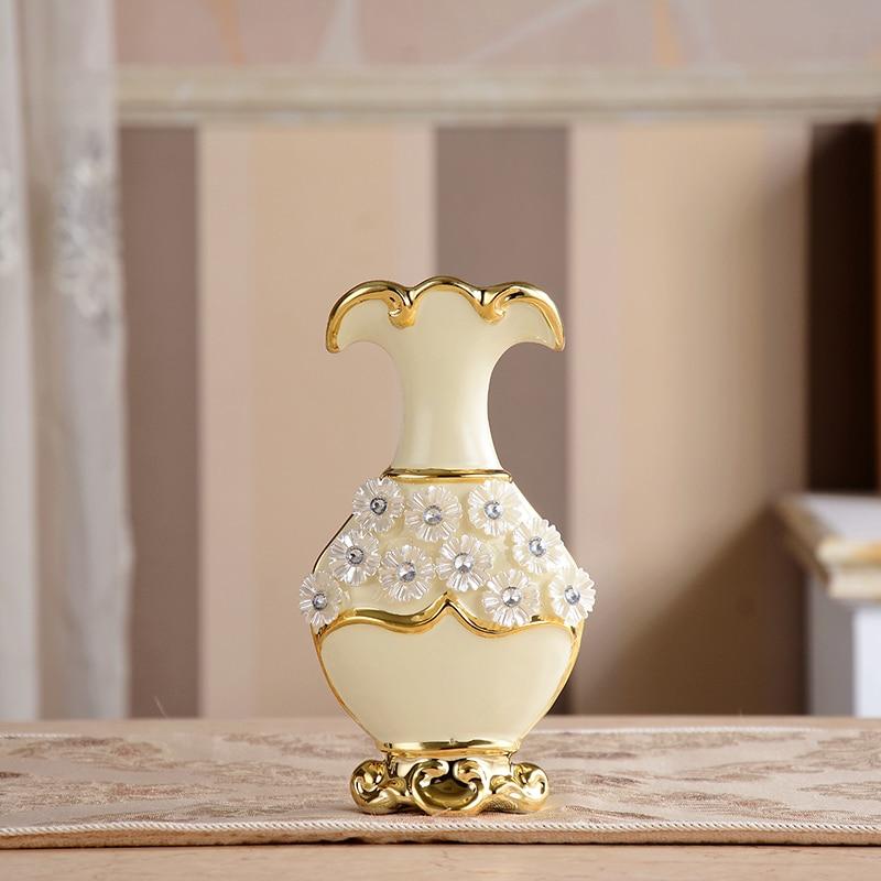 Luxury Morden Gold Plated Diamond Flower Ceramic Vase Home