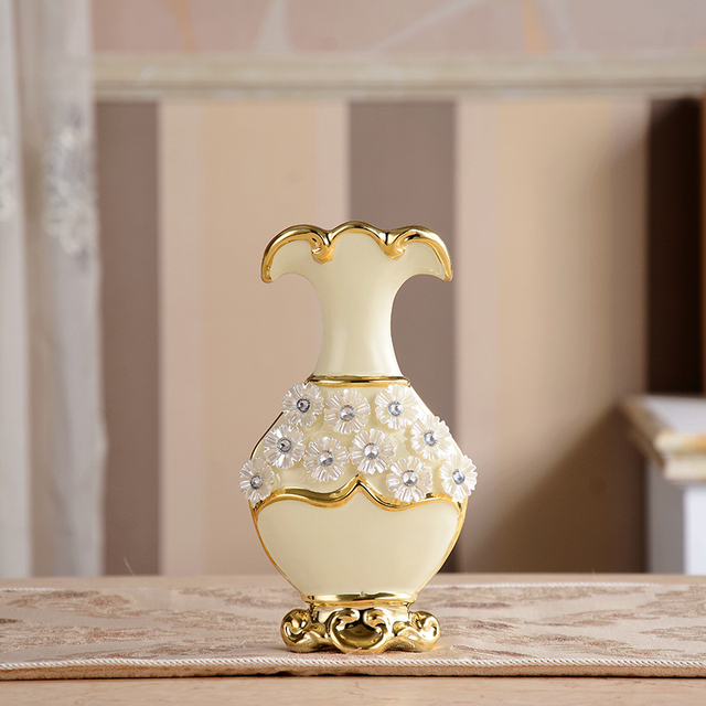 Luxury Morden Gold Plated Diamond Flower Ceramic Vase Home Decor Porcelain Decorative  Vases For Wedding