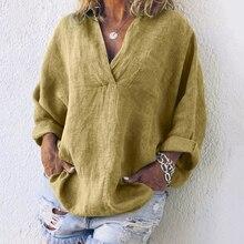 V Neck Cotton Linen Blouse Loose Long Sleeve Women's Tunic Autumn Women Tops And Blouses Pocket Shirt Ladies Blouse Plus Size plus size cuffed sleeve linen pocket shirt