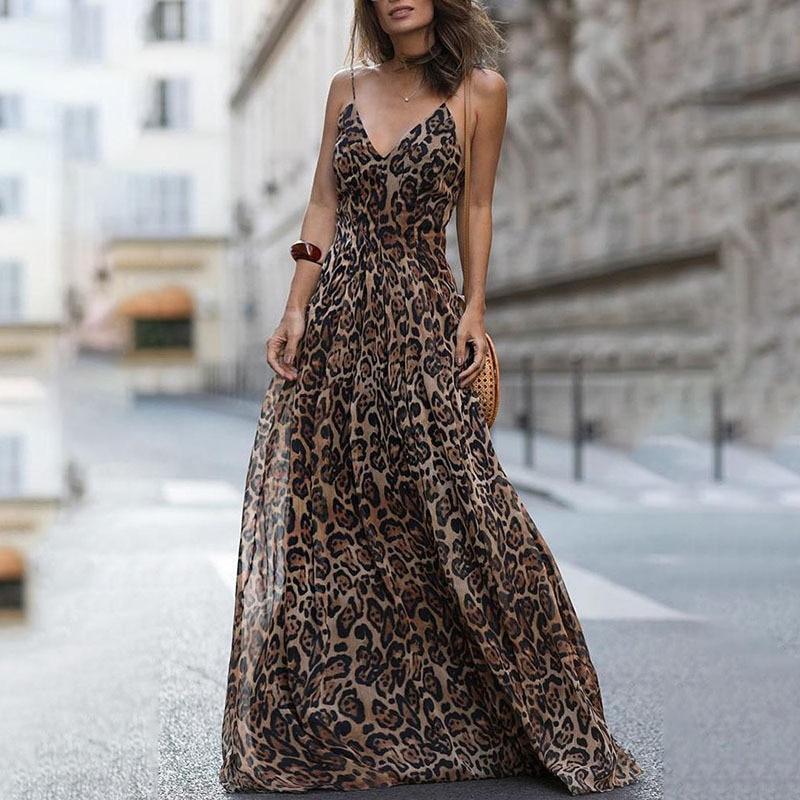 Fashion Sexy Dress Leopard V-Neck Sling Dress Maxi Dresses Women Summer Chiffon Beach Long Dress Robe Femme