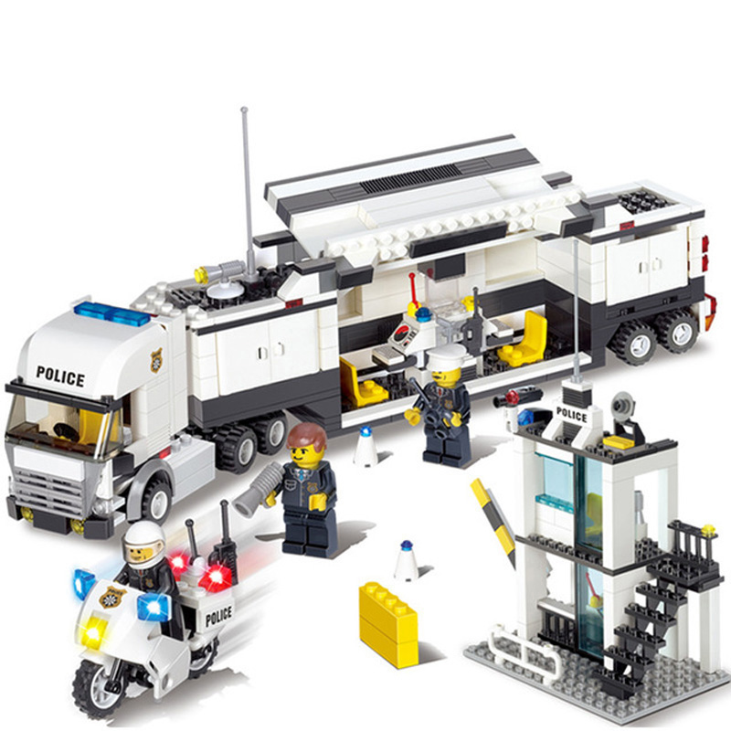 Enlighten Police Station Truck Building Blocks Compatible Legoed City Construction Bricks Toys Birthday Gifts Toys For Children 0367 sluban 678pcs city series international airport model building blocks enlighten figure toys for children compatible legoe