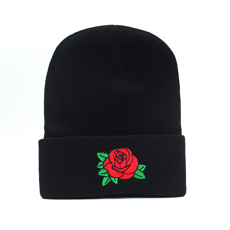 Rose Floral Embroidery Rose Hat Winter Men And Women Cuff Hats Soft Solid Beanies Hip Hop Unisex Warm Knitted Caps Gorros De