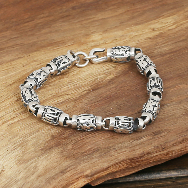 S925 men's fashion wholesale silver jewelry handmade silver personality retro six words cylinder Bracelet