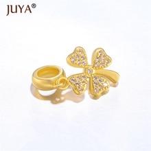 5 pcs Copper Zircon Gold Flower Charms Fit For Hand Made Bracelets Women Jewelry Making Accessories Gift amuletos de la suerte