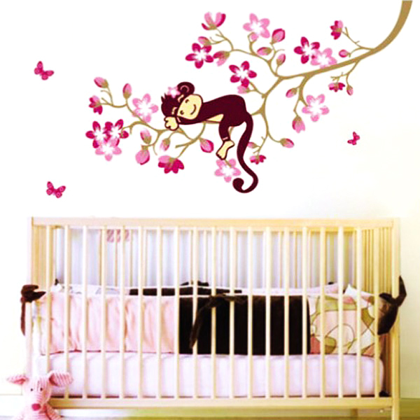 Peach Blossom Sleeping Monkey Animal Tree Branch Removable Art Decal Wall Sticker For Kids Baby Room